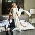 Parbillede af brudepar på Holckenhavn Slot